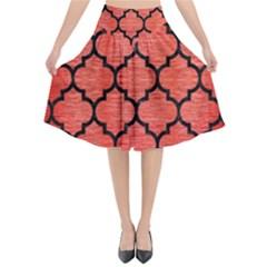 Tile1 Black Marble & Red Brushed Metal Flared Midi Skirt