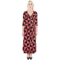 Triangle1 Black Marble & Red Brushed Metal Quarter Sleeve Wrap Maxi Dress