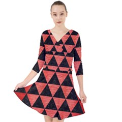 Triangle3 Black Marble & Red Brushed Metal Quarter Sleeve Front Wrap Dress