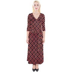 Woven2 Black Marble & Red Brushed Metal (r) Quarter Sleeve Wrap Maxi Dress