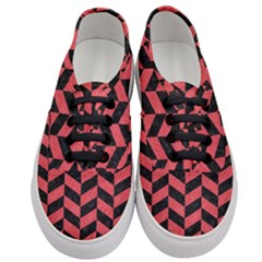 Chevron1 Black Marble & Red Colored Pencil Women s Classic Low Top Sneakers