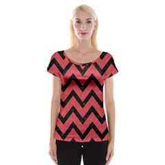 Chevron9 Black Marble & Red Colored Pencil Cap Sleeve Tops