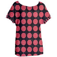 Circles1 Black Marble & Red Colored Pencil (r) Women s Oversized Tee