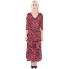 Damask1 Black Marble & Red Colored Pencil Quarter Sleeve Wrap Maxi Dress