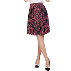 Damask1 Black Marble & Red Colored Pencil (r) A Line Skirt