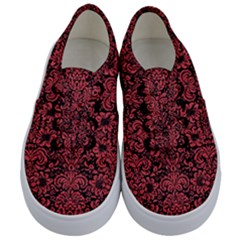 Damask2 Black Marble & Red Colored Pencil (r) Kids  Classic Low Top Sneakers