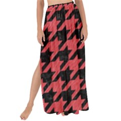 Houndstooth1 Black Marble & Red Colored Pencil Maxi Chiffon Tie Up Sarong