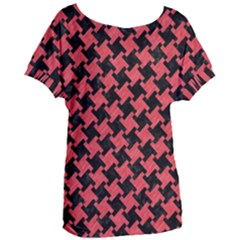 Houndstooth2 Black Marble & Red Colored Pencil Women s Oversized Tee