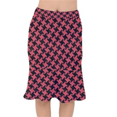Houndstooth2 Black Marble & Red Colored Pencil Mermaid Skirt