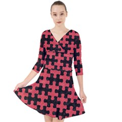 Puzzle1 Black Marble & Red Colored Pencil Quarter Sleeve Front Wrap Dress