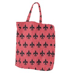 Royal1 Black Marble & Red Colored Pencil (r) Giant Grocery Zipper Tote