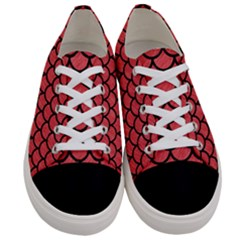 Scales1 Black Marble & Red Colored Pencil Women s Low Top Canvas Sneakers