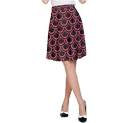Scales2 Black Marble & Red Colored Pencil (r) A Line Skirt