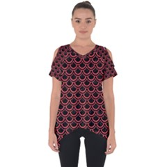Scales2 Black Marble & Red Colored Pencil (r) Cut Out Side Drop Tee