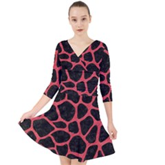 Skin1 Black Marble & Red Colored Pencil Quarter Sleeve Front Wrap Dress