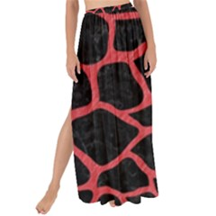 Skin1 Black Marble & Red Colored Pencil Maxi Chiffon Tie Up Sarong