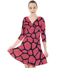Skin1 Black Marble & Red Colored Pencil (r) Quarter Sleeve Front Wrap Dress