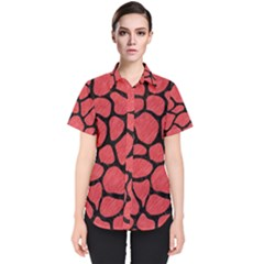 Skin1 Black Marble & Red Colored Pencil (r) Women s Short Sleeve Shirt