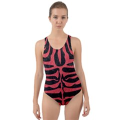 Skin2 Black Marble & Red Colored Pencil (r) Cut Out Back One Piece Swimsuit