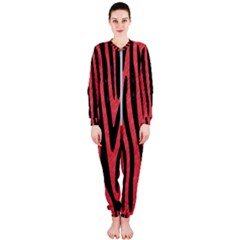 Skin4 Black Marble & Red Colored Pencil (r) Onepiece Jumpsuit (ladies)