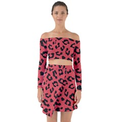 Skin5 Black Marble & Red Colored Pencil (r) Off Shoulder Top With Skirt Set