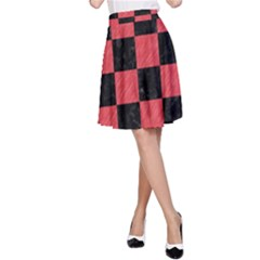 Square1 Black Marble & Red Colored Pencil A Line Skirt