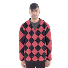 Square2 Black Marble & Red Colored Pencil Hooded Wind Breaker (men)