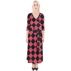 Square2 Black Marble & Red Colored Pencil Quarter Sleeve Wrap Maxi Dress