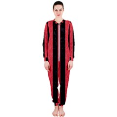Stripes1 Black Marble & Red Colored Pencil Onepiece Jumpsuit (ladies)