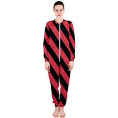 Stripes3 Black Marble & Red Colored Pencil Onepiece Jumpsuit (ladies)