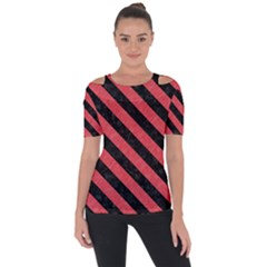 Stripes3 Black Marble & Red Colored Pencil Short Sleeve Top