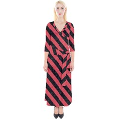 Stripes3 Black Marble & Red Colored Pencil Quarter Sleeve Wrap Maxi Dress