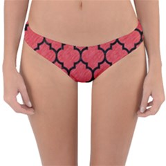 Tile1 Black Marble & Red Colored Pencil Reversible Hipster Bikini Bottoms