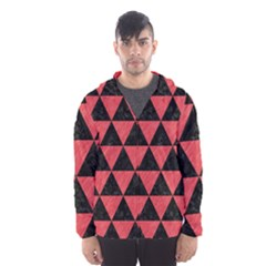 Triangle3 Black Marble & Red Colored Pencil Hooded Wind Breaker (men)