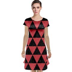 Triangle3 Black Marble & Red Colored Pencil Cap Sleeve Nightdress