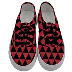 Triangle3 Black Marble & Red Colored Pencil Men s Classic Low Top Sneakers