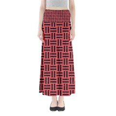 Woven1 Black Marble & Red Colored Pencil Full Length Maxi Skirt