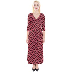 Woven2 Black Marble & Red Colored Pencil Quarter Sleeve Wrap Maxi Dress