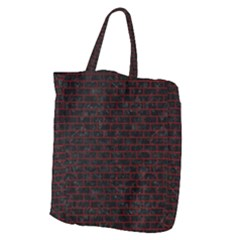 Brick1 Black Marble & Red Grunge (r) Giant Grocery Zipper Tote
