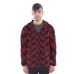 Chevron1 Black Marble & Red Grunge Hooded Wind Breaker (men)