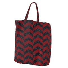 Chevron2 Black Marble & Red Grunge Giant Grocery Zipper Tote