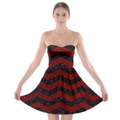 Chevron3 Black Marble & Red Grunge Strapless Bra Top Dress