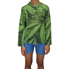 Marijuana Plants Pattern Kids  Long Sleeve Swimwear