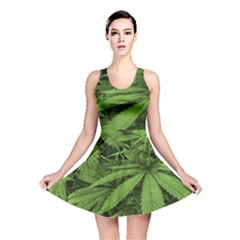 Marijuana Plants Pattern Reversible Skater Dress