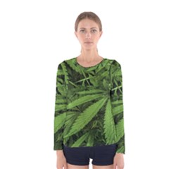 Marijuana Plants Pattern Women s Long Sleeve Tee