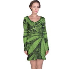 Marijuana Plants Pattern Long Sleeve Nightdress