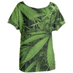 Marijuana Plants Pattern Women s Oversized Tee