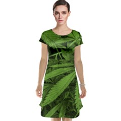 Marijuana Plants Pattern Cap Sleeve Nightdress