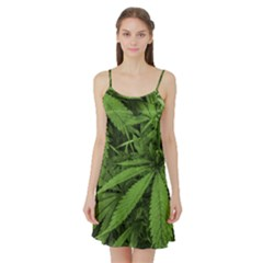 Marijuana Plants Pattern Satin Night Slip