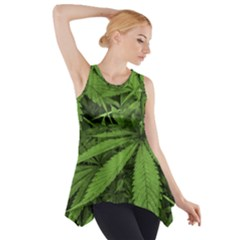 Marijuana Plants Pattern Side Drop Tank Tunic